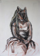 Affable Wolves 1 - pencil and pastel on paper